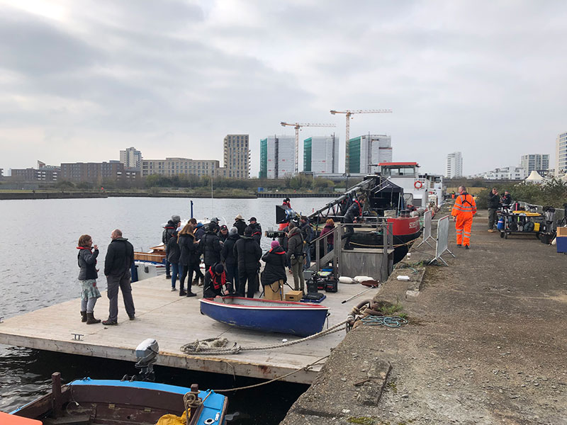 river thames filming pontoon dock