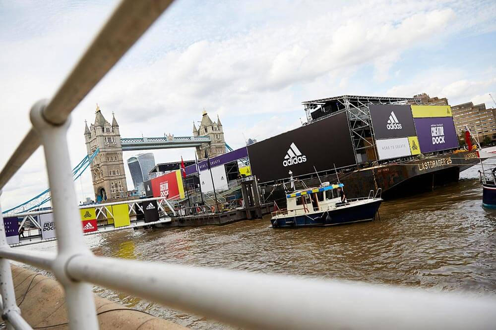 adidas football creator dock river thames butler's wharf pier